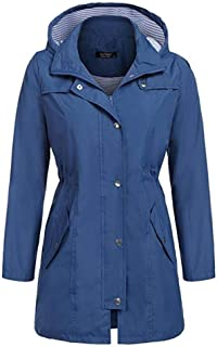 DILLIS レインコートレディース様々な防水レインコートウエストフード付きロングコートレインコート屋外レインコート女性 (Color : Dark blue, Size : XL)