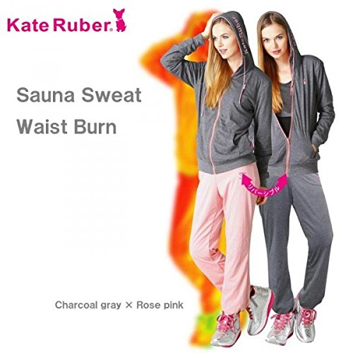 Kate Runer サウナスウェット ウエストバーン レディス チャコールグレー×ローズピンク L