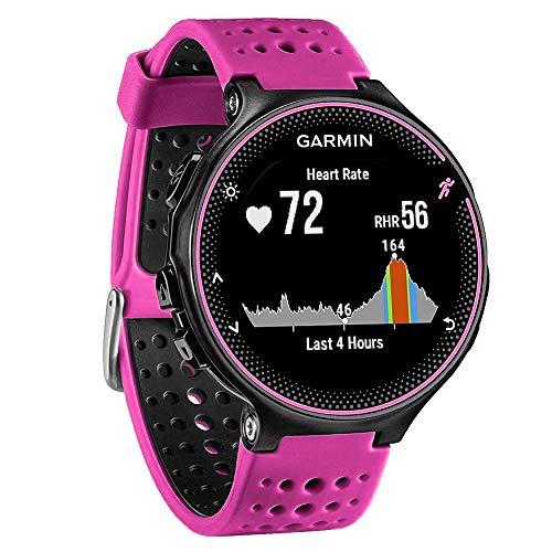 FunBand Correa para Garmin Forerunner 235, Banda de Reemplazo Silicona Suave Sports Pulsera para Garmin Forerunner 235/235 Lite/220/230/620/630/735XT/Approach S20/S5/S6 Smart Watch (Rosa&Negro)