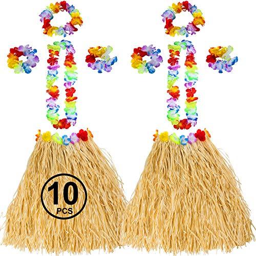 Tigerdoe Hawaiian Costume - Hula Skirt - Luau Costume - Flower Leis - 10 Pc Hawaiian Party Accessories