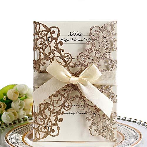 Lot de 10 cartes d'invitation de mariage, motif floral creux avec ruban pour fêtes de mariage, fiançailles, comprend 10 couvertures + carte vierge à l'intérieur + ruban, or rose pailleté