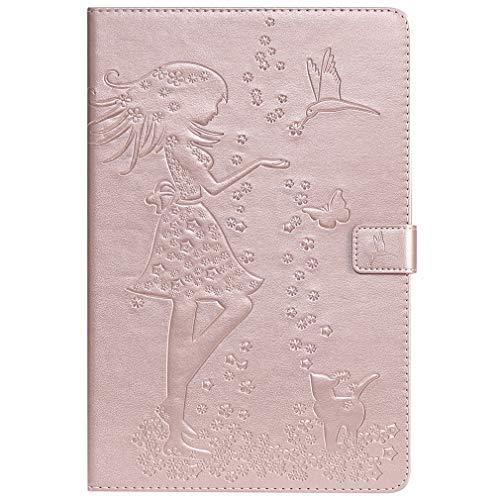 LMFULM® Hülle für Samsung Galaxy Tab S4 / SM-T830 / T835 (10,5 Zoll) PU Leder Magnet Lederhülle Mädchen Prägen Kartenschlitz Ledertasche Flip Cover für Galaxy Tab S4 Rose Gold