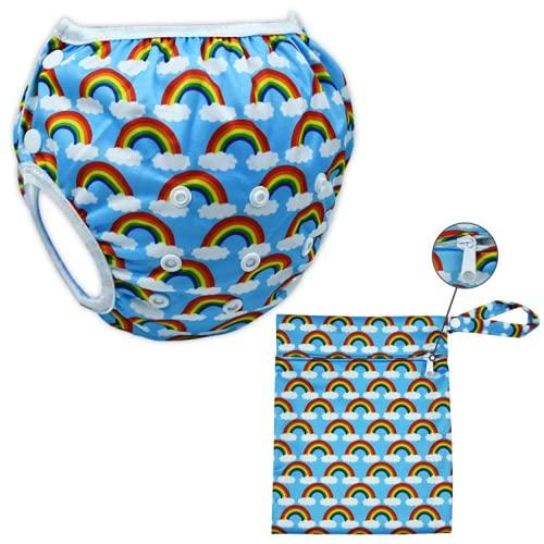 Pañal de baño reutilizable para bebés- Pañal de natación niños-Traje de baño bebé-dulce-ecológico-económico-fácil de lavar-impermeable-ajustable-resistente-100% PUL-Viene con 1 bolsa (arco iris)