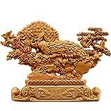 YUXINYAN Buda Decoracion Escultura de Pavo Real decoración de Madera Tallado a Mano Tallado Afortunado Regalo colección Animal decoración del hogar Decoración Feng Shui