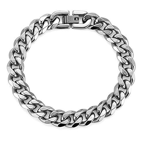 PRAK Engraved, Stainless Steel Chunky Chain Bracelet for Men, 10MM Width, 17/19/21CM, 18K Gold Plated/Black,Silver,17CM