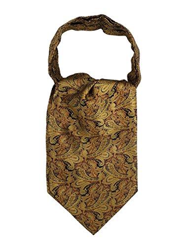 WANYING WANYING Herren Krawattenschal Ascotkrawatte Schal Cravat Ties Einfach Schick für Gentleman - Goldfarben Paisley Pattern
