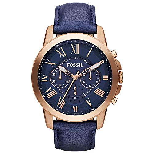 Fossil Mens Chronograph Quartz Watch with Leather Strap FS4835IE