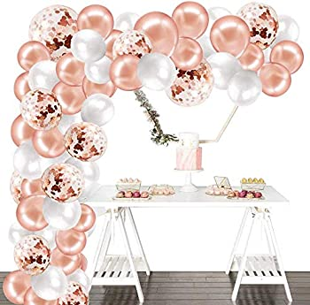 Larchio Rose Gold Balloon Arch Kit Balloon Garland Rose Gold Confetti Balloons and White Balloons Balloon Tie and Tape for Birthday Wedding Party Decoration