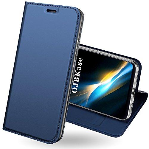 OJBKase Funda Xiaomi Redmi 5 Plus, Premium Piel sintética Billetera Carcasa Protectora Cartera y Funda Cubierta Interior TPU Protección De Cuerpo Completo Case para Xiaomi Redmi 5 Plus (Azul)