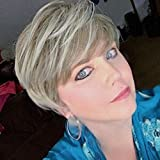 Becus Pixie Cut Peluca Corta Mullida Sintética Rubia Mixta Marrón Cabello en capas con flequillo para mujer Ropa diaria