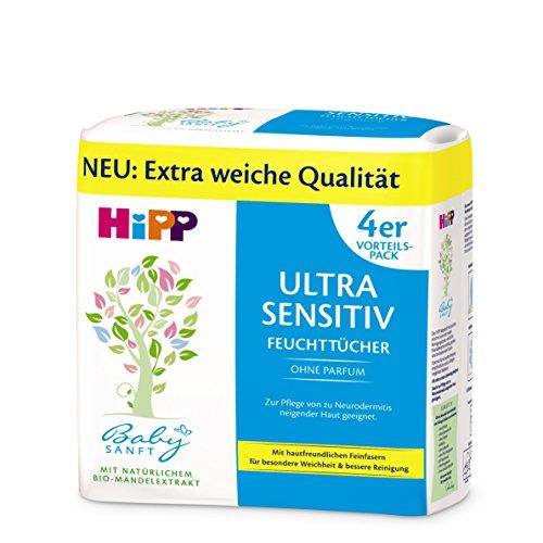 HiPP Babysanft Feuchttücher Ultra Sensitiv, 4er Pack (4 x 52 Stück)