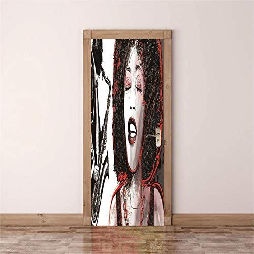 Fantxzcy Adesivi per porte interne Bellezza moda donna 88x200cm Adesivo per porta 3D Vinile murale Corridoio Carta da parati rimovibile autoadesiva Decalcomania Porte interne Camera da letto Soggiorno