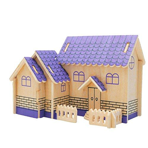 Bâtiment Modèle Puzzle Kids 3D drôles premiers jouets éducatifs, Purple House