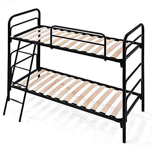 Evergreenweb – Litera negra con somier de láminas incluidas, 80 x 190 cm, estructura de hierro reforzado, modular, escalera, ideal para todos los colchones y cojines