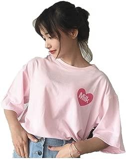 Women Girls Japanese Kawaii Strawberry Milk Box Graphic T-Shirt Fairy Kei Short Sleeve Pink Gift