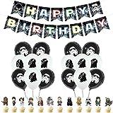 Décorations de fête D'anniversaire - YUESEN Thème de Star Wars pour enfants avec bannière Happy Birthday, cupcakes, ballons pour décoration de fête prénatale