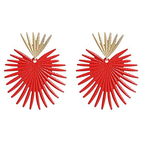 Pendientes colgantes Pendientes de textura de metal de temperamento de oreja de algas de coral de Europa y los Estados Unidos aretes de viento de playa fresca aretes de viento de mujer ( Color : Red )