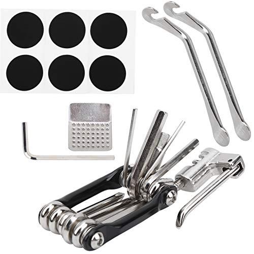 Asixxsix Herramientas de reparación de neumáticos de Bicicleta, Herramientas de reparación de Bicicletas 11 en 1, Parche de neumático portátil 6 * sin Pegamento de Acero Autoadhesivo para Bicicleta