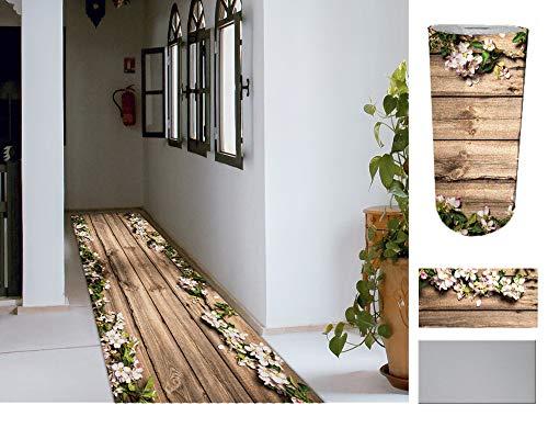 Comercial Candela Alfombra de Pasillo de Textil Resinado Antimanchas, Lavable | Base PVC Antideslizante y Aislante Diseño Madera y Flores (52_x_250 CM)
