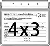 JSBVM Titular La Tarjeta Identificación CDC Protector La Tarjeta Vacunación 4 X 3 Pulgadas Registro Inmunización CDC Placa Identificación Horizontal Etiqueta Nombre Funda Plástico Vinilo Transparente