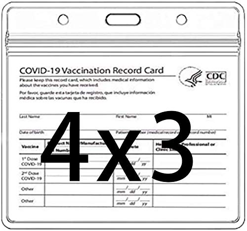 CDC Vaccination Card Protector, 4X3 in Immunization Record Clear Card Protector Waterproof Horizontal Badge I'D Name Tag Vinyl Plastic Sleeve Pouch w 3 Lanyard Slots for Events & Travel (10 Pack)