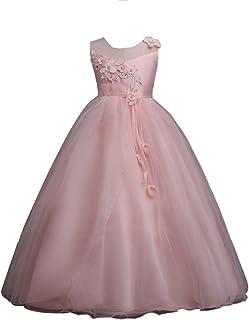 f541b77a2f48e YuanDian Fille Enfant Fil Net Tulle Longue Ceremonie Robe De Soirée Fleurs  Mariage Demoiselle d Honneur
