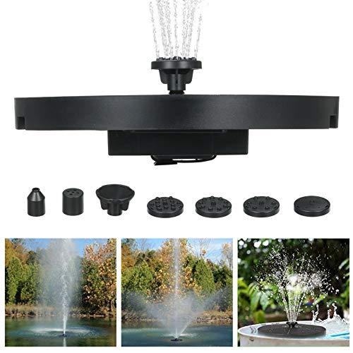 Blusea 3.8 W Solarenergie Springbrunnen, Großem Durchmesser Solarbrunnen mit 5-LEDs Buntem Atemlicht Nacht und 6 Düsen für Gartenteiche, 0.6 M MAX Sprühhöhe, 1800mAh / 2200mAh Optional