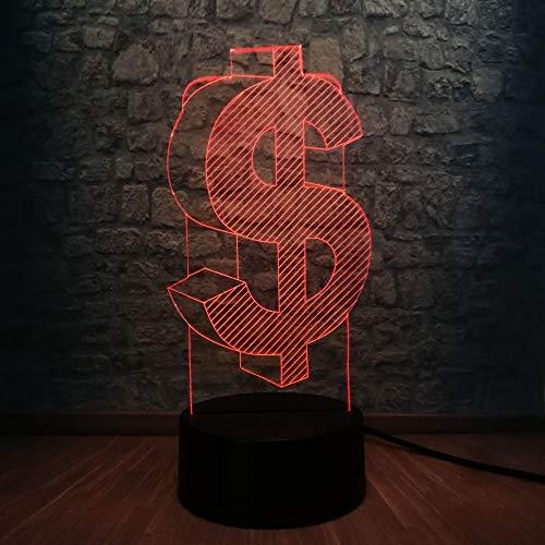 3D Nachtlicht 3D LED Lampe US-Dollar Symbol Nachtlichter 7 Bunte USB Bitcoin Schreibtisch Lampe Dekoration für Kinder Kinderzimmer Geschenk Lava Display Glühbirne