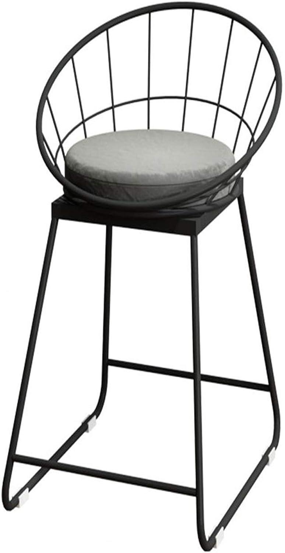 Stool Bar Stool Retro Wrought Iron Black Fabric Dining Chair Stool Casual Decoration 45 65 75cm +