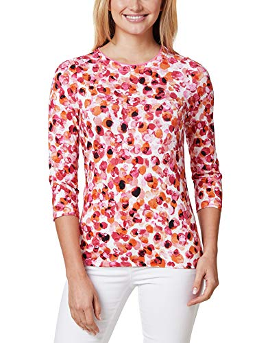 Walbusch Damen Shirt Aquarelltupfen Gemustert Orange/Pink 40