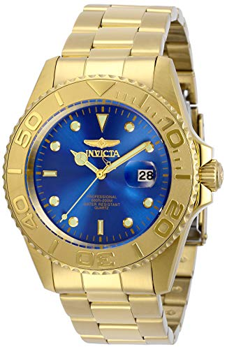 Invicta Men's Pro Diver Quartz Watch with Stainless Steel Strap, Gold, 22 (Model: 29947)