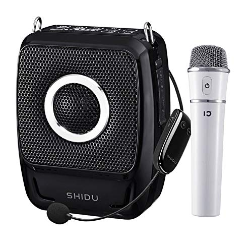 Wireless Portable PA System Microphone and Speaker Set- 25W Rechargeable Bluetooth Voice Amplifier Loudspeaker with Headset/Handheld Mic, Mini Karaoke Machine Amp for Classroom/Teachers ect