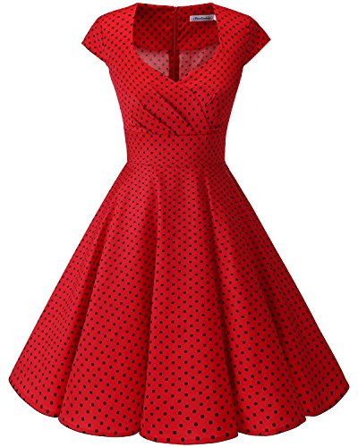 bbonlinedress 1950er Vintage Retro Cocktailkleid Rockabilly V-Ausschnitt Faltenrock Red Small Black Dot XS