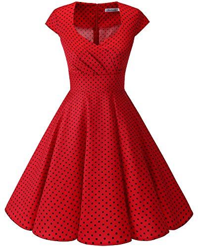 Bbonlinedress Vestido Corto Mujer Retro Aos 50 Vintage Escote En Pico Red Small Black Dot 3XL