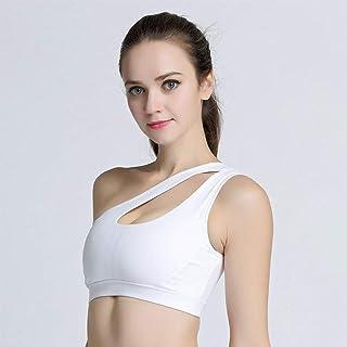 WZHZJ Sexy One Shoulder Yoga Bras Women Sports Top Crop Athletic Vest Push Up Underwear Sports Bra Sportswear (Size : M Code)