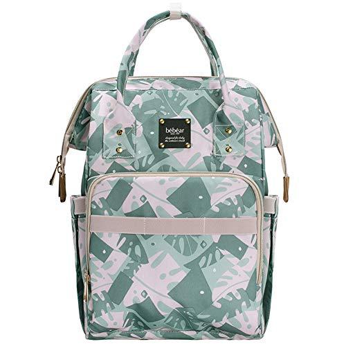 Bebamour vervangende tas rugzak voor mama en papa, baby luiertas rugzak met veranderende mat luier rugzak met bloem patroon