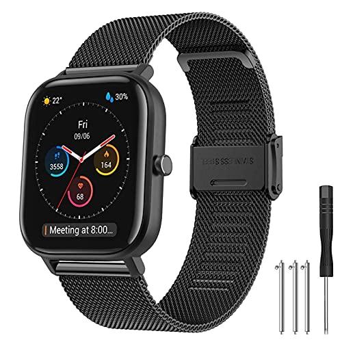 Hatolove Compatible con Galaxy Watch Active/Active 2 40mm 44mm Correa, 20mm Correa de reloj de acero inoxidable de malla tejida para Galaxy Watch 42mm/ Galaxy Watch 3 41mm/ Huawei GT 2 42 mm B