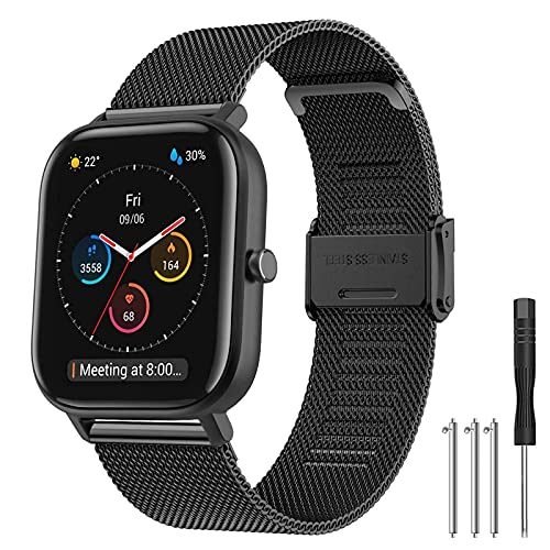 Hatolove Compatible con Galaxy Watch Active/Active 2 40mm 44mm Correa, 20mm Correa de reloj de acero inoxidable de malla tejida para Galaxy Watch 42mm/ Galaxy Watch 3 41mm/ Huawei GT 2 42 mm Banda