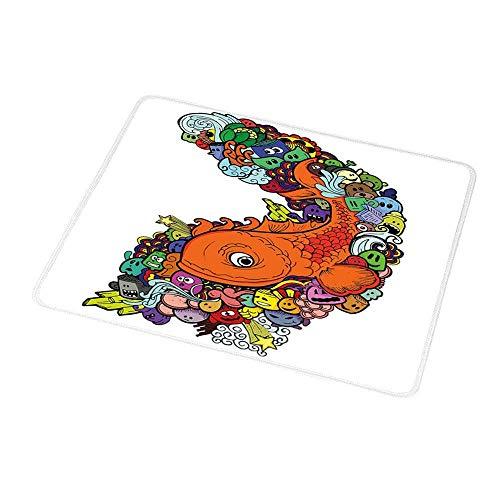 N\A Teclado de computadora Alfombrilla de ratón Decoración para niños, Pez Grande con Manojo de Criaturas Marinas submarinas Animal Océano Arrecife de Coral Dibujos Animados, Multicolor para J