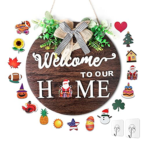 BIGEDDIE Welcome Sign for Front Door, Interchangeable Welcome Sign, Wall Hanging Front Door Decor Welcome Home Sign for Housewarming Gifts Fall Christmas Easter