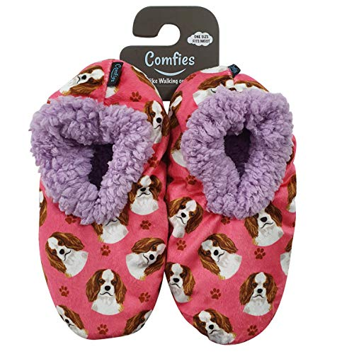Cavalier King Charles Super Soft Women's Slippers - One Size Fits Most - Cozy House Slippers - Non Skid Bottom - perfect for Cavalier King Charles gifts