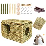 VCZONE Bunny Grass House with 2 Grass Mat & Play Balls Activity Toys for Rabbit, Squirrels, Chinchillas, Gerbils, Guinea Pigs, Edible Grass Hideaway, Foldable Toy Hut with Openings (10pack)