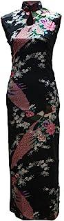 فستان صيني طويل بنمط الطاووس بفتحة المفتاح الأسود للسيدات من 7Fairy