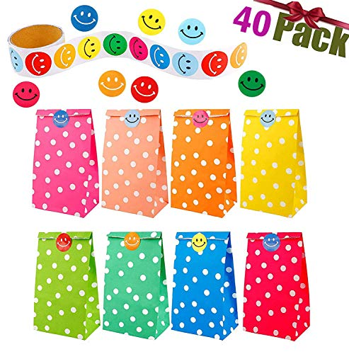 Sumnos 40 Pezzi Sacchetti Regalo Carta 8 Colori DOT Pattern con con Un Rotolo di 100 Adesivi faccine per Bambini Natale Festa Compleanno Forniture