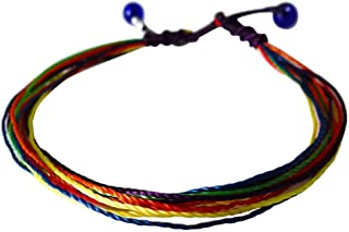 Surfing String Friendship Bracelet Medium 6.5-8.5 Inches Rainbow Macrame with Sea Glass Beads Adjustable Knots Unisex BFF Couples Beach Surf Gift Under 10 dollars