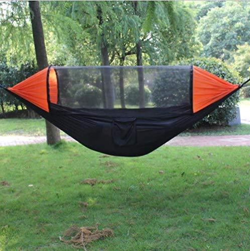 POUAOK Hamaca de Camping, Hamaca portátil con mosquitero, con Correa para árbol y Hebilla, Utilizada para mochileros Que viajan al Aire Libre.(Color:B)