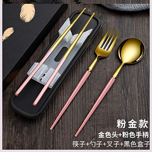 bento box lunch box Cutlery box pink portable picnic chopsticks spoon long handle travel fork small exquisite-R31-Pink gold four-piece set