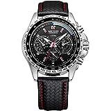 MEGIR Herren Analog Quarz Uhr mit Schwarz Leder Armband 1010G