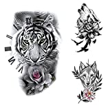 glaryyears 18 Sheets Wild Animal Temporary Tattoos for Men Women, Wolf Owl Tiger Snake Lion with Flowers Black Watercolor, on Arm Shoulder Hand Leg Back Body Art 4.7''x7.5''