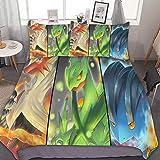Juego de funda de edredón de 104 x 228 cm, juego de cama de 3 piezas, con cierre de cremallera y 2 fundas de almohada, lindo juego de edredón de dibujos animados para niños y niñas